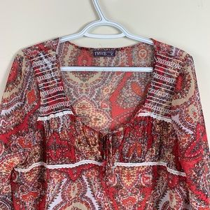 truce Tops - Sheer paisley print blouse tie keyhole